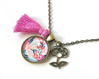 Painted Floral Pendant, Tassel and Flower Charm Necklace, Jewelry
