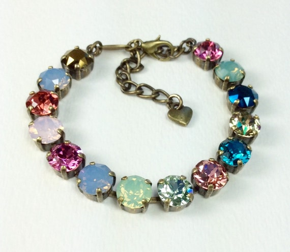 """Swarovski Crystal 8.5mm Bracelet - """"Crazy Quilt"""" - Multi-Colors -  Stained Glass Window Colors - Designer Inspired - FREE SHIPPING"""