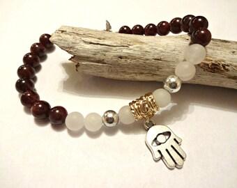 Hamsa Charm Bracelet, Mala Bracelet, Yoga Jewelry, Buddhist Bead Bracelet, Meditation Bracelet, Garnet Birthstone Bracelet, January Bracelet