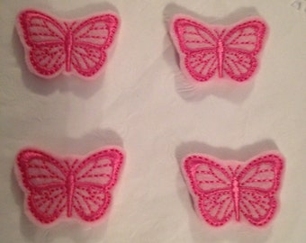 Pink Embroidered Felt Butterfly applique-Set of 4