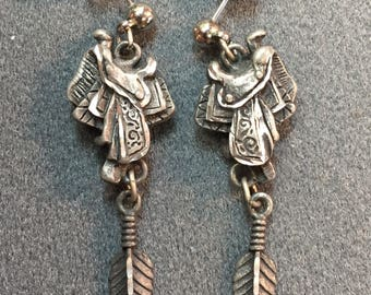 Pewter Western Saddle and Feather Pierced Earrings-Free shipping