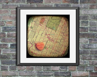 Unframed map art print marry me Bryant Park New York City Manhattan candy heart custom engagement wedding anniversary gift wall decor