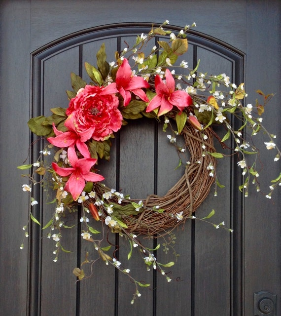 18 Spring Decor Ideas: Spring Wreath Summer Wreath Floral White Branches Door Wreath
