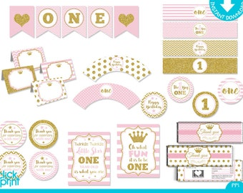Pink and Gold Glitter Print Yourself Princess One Year Party Package, First Year Printable Party Package, One Year Birthday Decoration