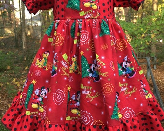 Size 3T.....Christmas Mickey Dress....Made and ready to be shipped.