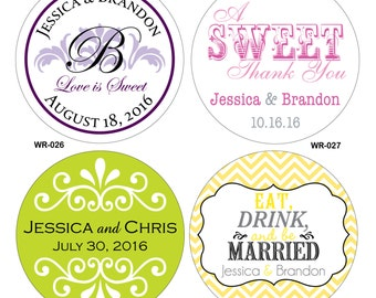 60 - 4 inch Custom Glossy Waterproof Wedding Stickers Labels - many designs to choose - change designs to any color or wording