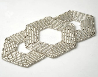 "Silver Beaded Applique, Beaded patch, Bridal Applique by 1pc, 4-5/8"" x 2-1/4"" , FF-M2213"