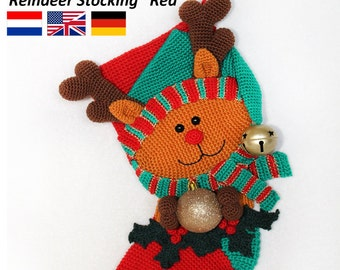 Reindeer Christmas Stocking  - Crochet Pattern