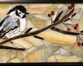 The Chickadee Meditation: Stained Glass Mosaic, Chickadees, tree art, glass art, garden art, custom mosaic art, home decor, mosaic, birds