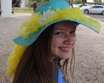 2 Choices Mother's Day Sunhats with Feathers and Flowers