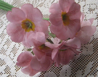Vintage East Germany 6 Fabric Millinery Primroses Flowers  VF 070 PK