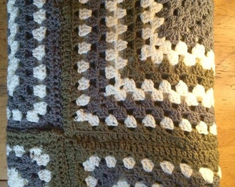 Afghan  blanket , granny square blanket , sage green blanket , grey cream green blanket , crochet blanket , Mothers day gift , birthday gift
