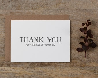 Thank you for Planning our Wedding - Card for Wedding Planner - Wedding Planner Card, Wedding Thank You Cards, Wedding Organizer Card, K5