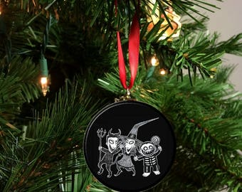 "Nightmare Before Christmas Lock Shock and Barrel Black White Image Christmas Tree 2.25"" Ornament"
