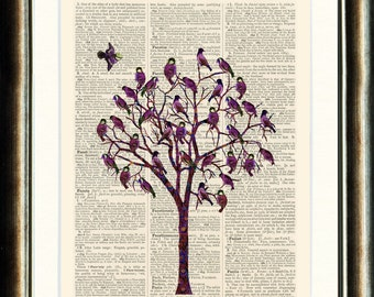 Bird Tree 3  - Upcycled vintage book page print printed on a page from a late 1800s Dictionary Buy 3 get 1 Free