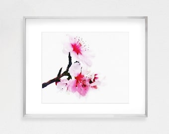 Cherry Blossom Art, Cherry Blossom Wall, Cherry Blossoms Art, Japanese Art, Asian Decor, Watercolor Print, Watercolor Painting, Pink Art