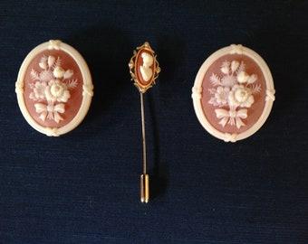 Lot of three pieces of vintage Avon cameo jewelry