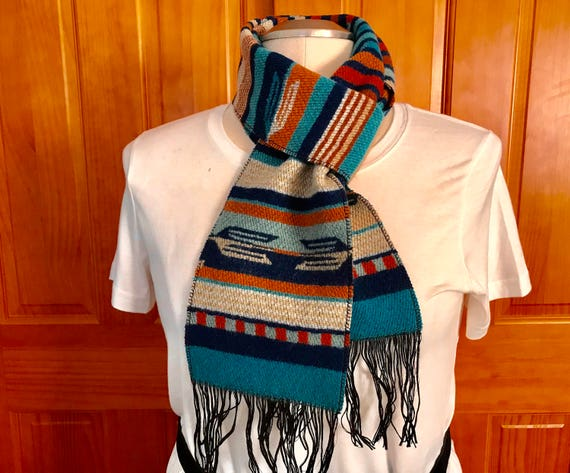 Wool Blanket Scarf Unisex 62 Inch Blue Chimayo Serape Stripes
