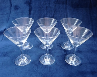 set of six vintage martini glasses from 1960s