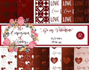 Be my Valentine - Digital Paper, Craft, Scrapbook Papers, Scrapbooking, Cartonnage, Background, Supplies, Valentine, Romantic, Love