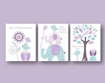 Purple and aqua Nursery art baby art nursery decor nursery wall art bird elephant tree all you need is love owl Set of 3 Prints