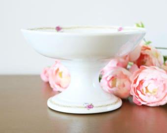 Antique Limoges Porcelain Compote, Leveille & Mabit Bistro Paris, Ironstone Serving Dish, Footed Compote, Pedestal Bowl, French Limoges Dish