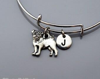 Pug charm bangle, Pug bracelet, Pug dog charm, Silver pug charm, Expandable bangle, Personalized bracelet, Charm bangle, Initial bracelet