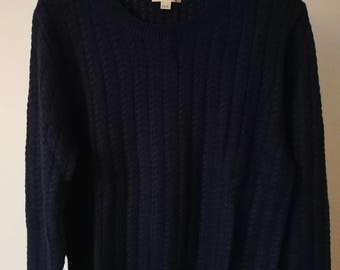 Buberry Brit London Wool/Cashmere/Cotton Roving Crew Neck Cable Sweater XXXL