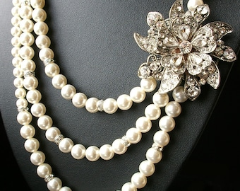 Pearl Bridal Necklace, Statement Wedding Necklace, Antiqued Silver Wedding Jewelry, Crystal Bridal Jewelry, MIRABELLE