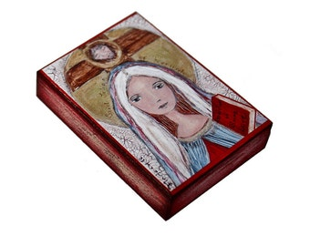 Saint Julian of Norwich - ACEO Giclee print mounted on Wood (2.5 x 3.5 inches) Folk Art  by FLOR LARIOS