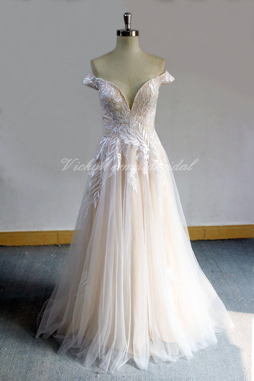 Von der Schulter Tüll Spitze Brautkleid Boho Brautkleid