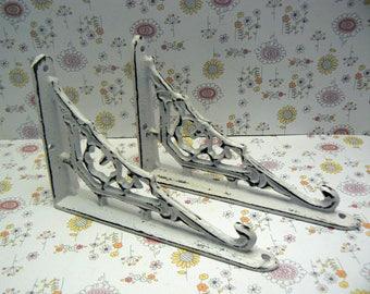 "Wall Bracket Cast Iron Shelf Ornate 3 5/8"" x 5 5/8"" Brace Shabby Elegance Classic White Small Petite 1 Pair (2 individual brackets)"