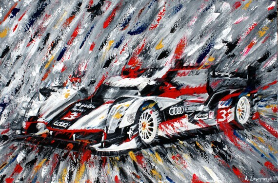 Audi R18 Fine Art Print Original Painting Car Abstract Speed