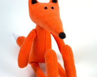 Orange fox, felted soft animal toy, Rug Doll