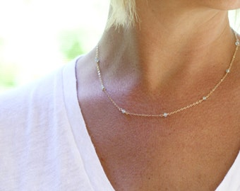Dainty Gold Necklace, Gold Delicate Necklace, Gold Gemstone Necklace, Dainty Gem Necklace, Layering Necklace, Gemstone Jewelry, Chalcedony