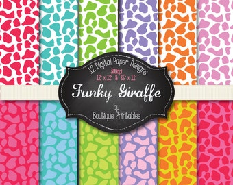 Funky Giraffe digital papers - 12x12 and 8.5x11 300 dpi - ZIP file