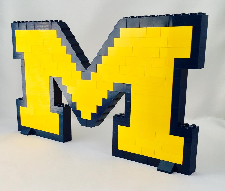 Lego michigan wolverines brick logo construction set with zoom buycottarizona