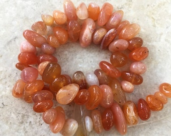 Botswana Agate Nugget Beads, Apricot Agates, 16 inch strand, 8 to 10mm