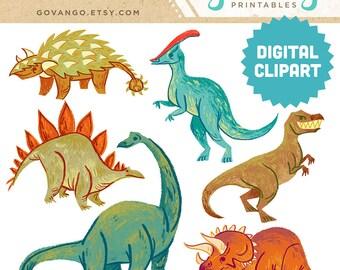 DINOSAURS Digital Clipart Instant Download Illustration T-Rex Stegosaurus Brachiosaurus Triceratops Dino Children Art Nursery Clip Art Stock