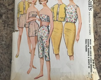 1960s McCall's 5837 Size 14 Bust 34 Sports Separates, Skirt, Blouse, Bandeau, Shorts, Pedal Pushers Sewing Pattern