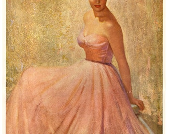 Vintage 1950s Glamour Girl Pin-Up Print titled Reverie by Andrew Loomis