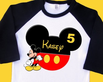 Mickey Mouse Birthday Shirt. Personalized this Raglan Shirt with Name and Age. 1st 2nd 3rd 4th 5th 6th 7th 8th 9th 10th Birthday. (2201)
