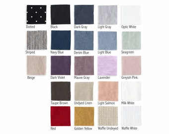 LINEN FABRIC SAMPLES - Fabric swatches of pure softened linen european flax - Softened stone washed linen fabric color palette