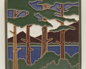 "Lake Tahoe Pines Tile (Summer) 4"" x 4"" by Art and Craftsman Tileworks"