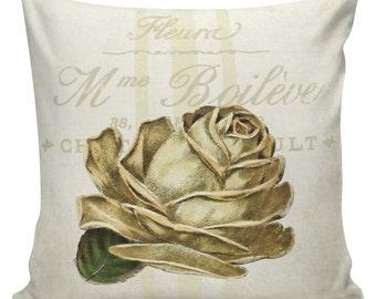 Spring Pillows, Botanical Pillows, Roses, Floral, Spring Decor, Cushion Covers, Throw Pillows, Made in USA, Cotton, Burlap,   #EHD0122