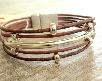 Leather Bracelet/ Sterling Silver Bracelet / Modern Chic/IseaDesigns