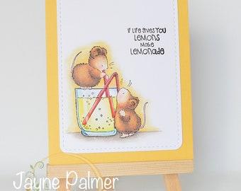 Handmade greeting card, Set of 3, Penny Black Mice