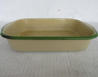 Vintage Light Tan Enamel with Green Trim, Smaller Cake Pan, Rustic, Farmhouse, Enamelware