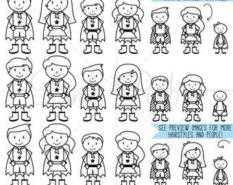 Superhero Stick Figure Clipart Clip Art, Stick People Clipart Clip Art, Stick Family Clip Art Clipart, Stick Figure Stamps - Commercial Use