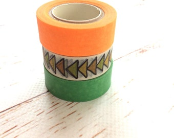 Washi Tape Set/ Geomertic triangles Pattern Bujo Border/ Orange Green Planner Stationery Set